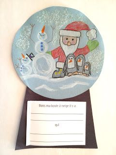Madame Belle Feuille - french grade 1 writing project, free printable, winter, snowglobe, french immersion