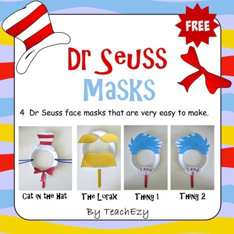 Dr Seuss Masks Free Craft Activity