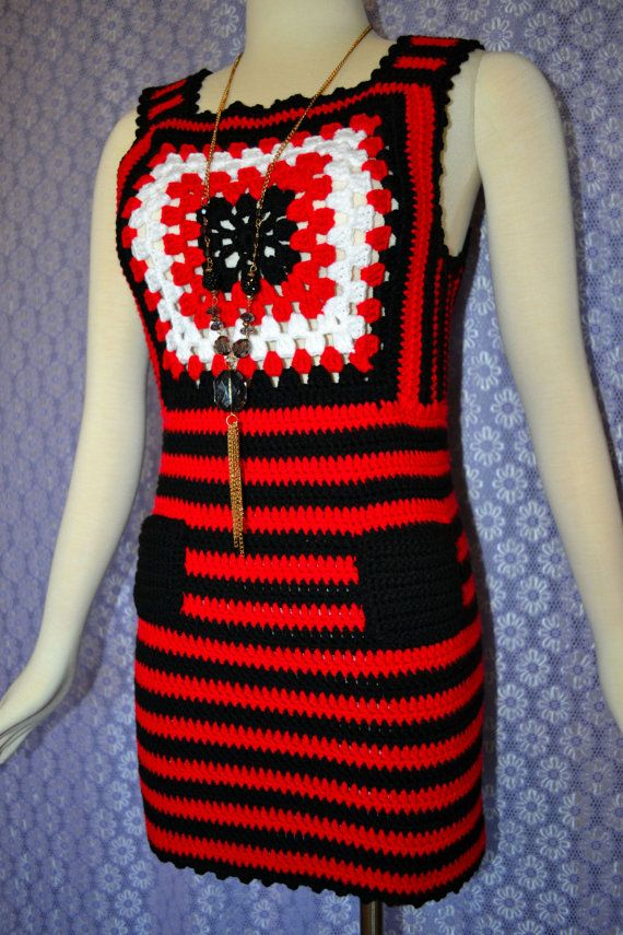 Check out this item in my Etsy shop https://www.etsy.com/listing/254535378/crochet-top-dress-in-red-black-white