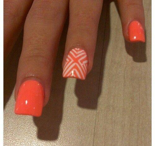 Very cute neon orange nail art. - 145 Best Orange Nail Art Images On Pinterest Orange Nails, Make