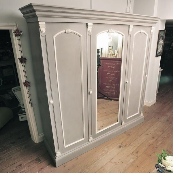 Beautiful Vintage Victorian Triple Wardrobe Painted in Annie Sloan  French Linen