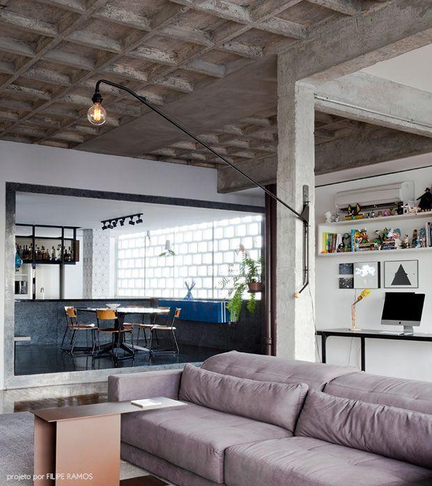 modern home + concrete ceiling