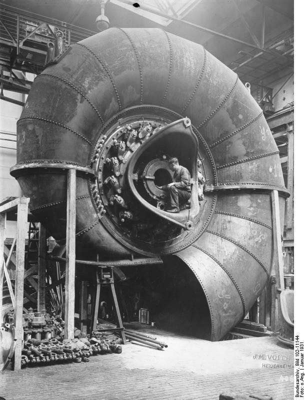 A Voith spiral turbine (9000 hp) built in Germany for a powerplant in Norway. Photo taken in 1931