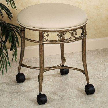 Vanity stool stools and vanities on pinterest - Bathroom vanity chair with casters ...