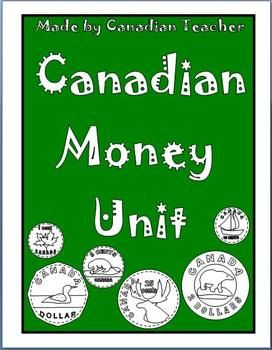 This is my Canadian Money Unit for grade 2. It has 30 pages which covers:Identifying the colour of Canadian coinsIdentifying common names of the coins of CanadaSkip counting by 5s, 10s, and 2s using nickles, dimes, and tooniesBuying products at a certain priceMaking changeTwo different ways to make the same dollar amountWord ProblemsReproducible coinsAnd More!I hope you enjoy it!