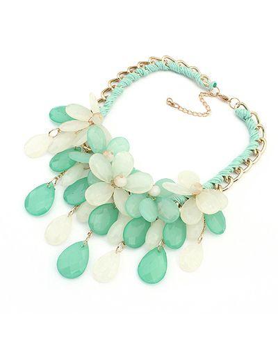 Light Green Gemstone Floral Statement Necklace AC0020084-3