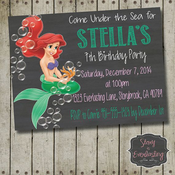 Little Mermaid Birthday Invitation  Disney by StoryIsEverlasting