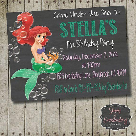Little Mermaid Birthday Invitation  Disney by StoryIsEverlasting