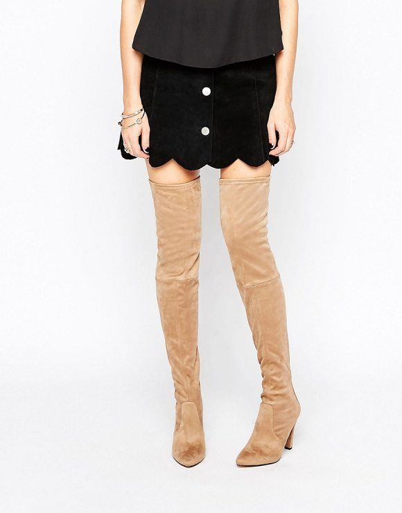 Wren Heeled Over The Knee Boots by Carvela. Boots by Carvela, Textile upper, Back zip opening, Over-the-knee design, Almond toe, High heel, Wipe marks with a sof...