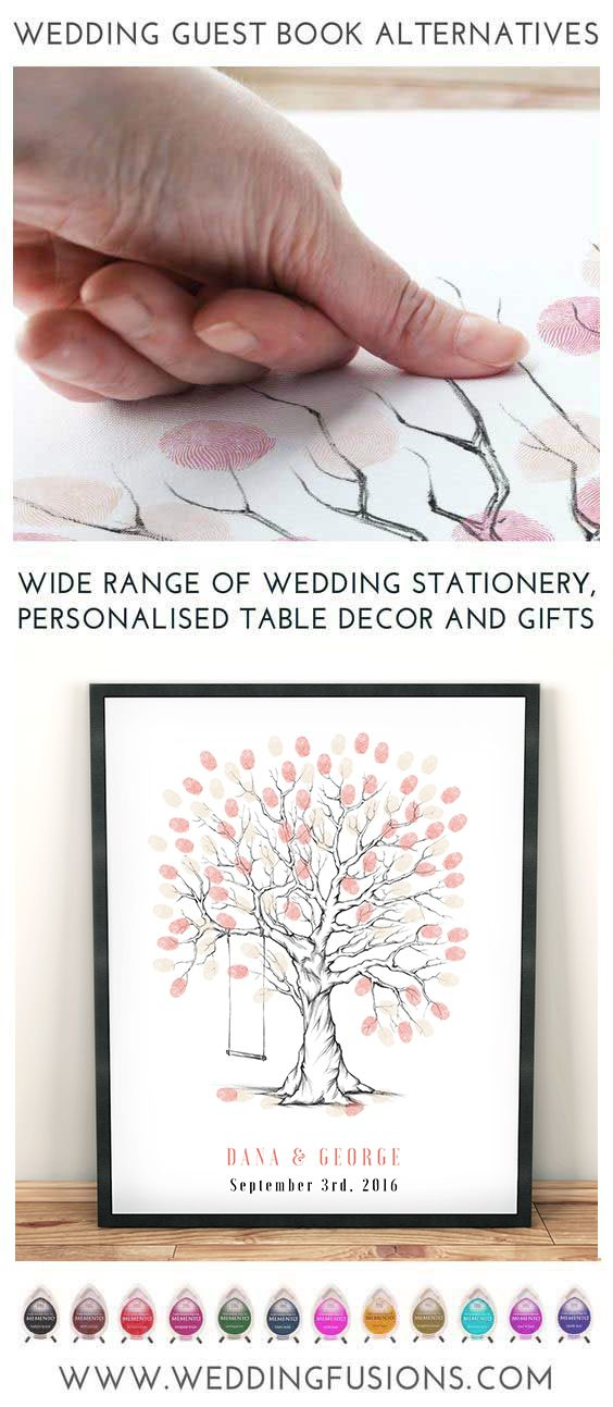 Wedding fingerprint tree with swing - a guest book alternative that makes a beautiful memento for your big day, a unique keepsake to cherish forever.