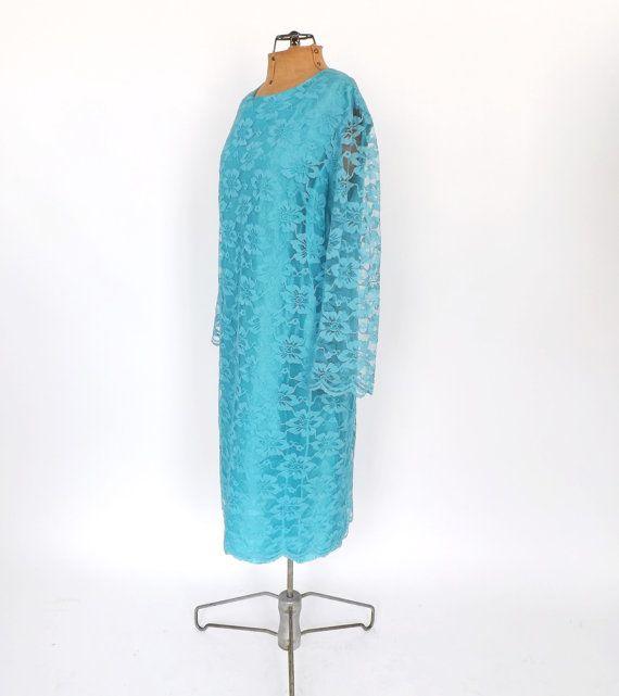 Size Large Vintage 1960s Teal Blue Lace Party Dress Cocktail Dress Bridesmaid Gown Mad Men  Dress Mod Shift Dress Disco Motown Plus Size