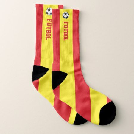 Spain Flag Fútboll and Your Text Socks - tap, personalize, buy right now!
