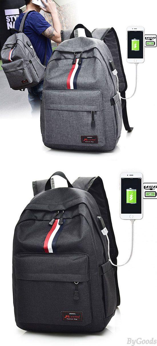 2a58e8a195ca Leisure Red White Black Stripe USB Interface Large Travel Bag ...