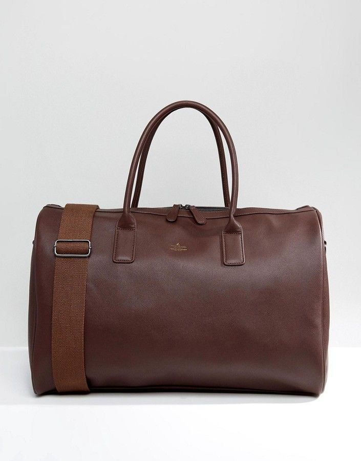 Asos Holdall In Brown Faux Leather