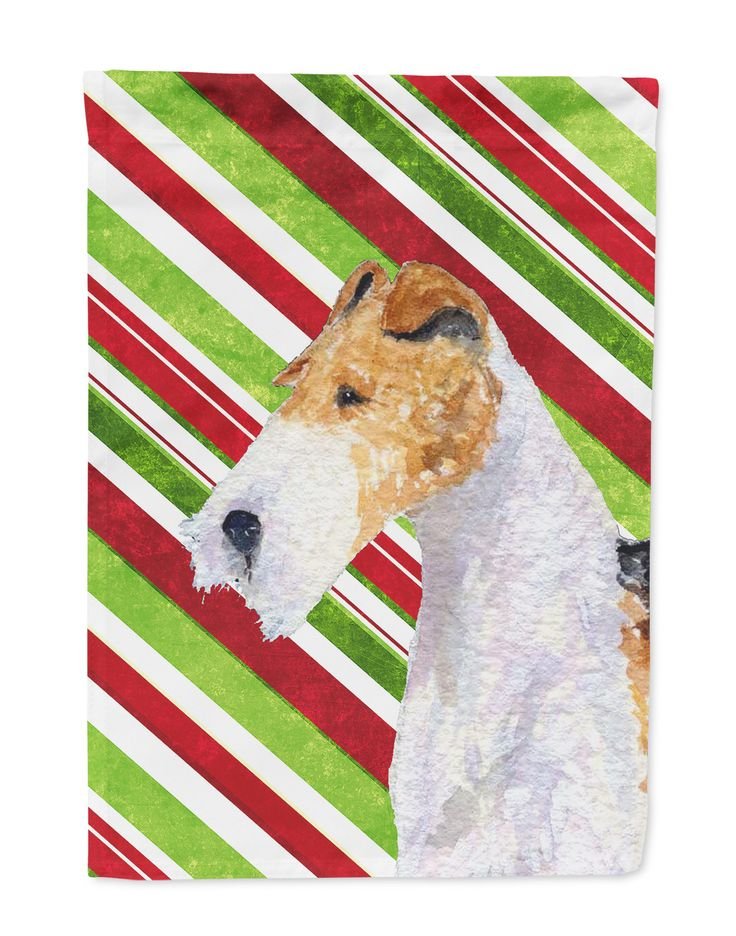 Fox Terrier Candy Cane Holiday Christmas Flag Garden Size