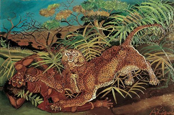 Antonio Ligabue, Leopardo con indigeno, 1956, Olio su faesite - CoSA | Contemporary Sacred Art