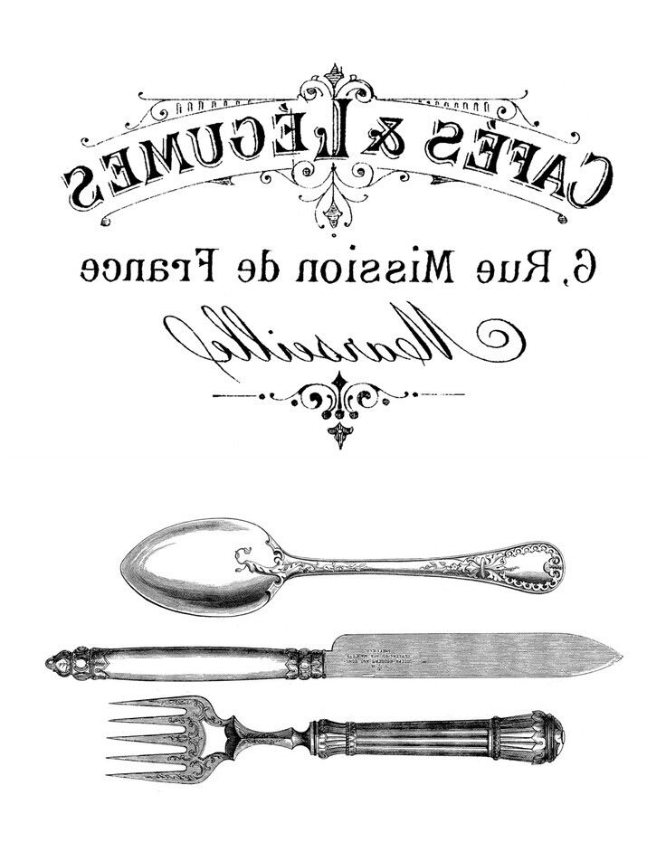 french sign, fork knife and spoon
