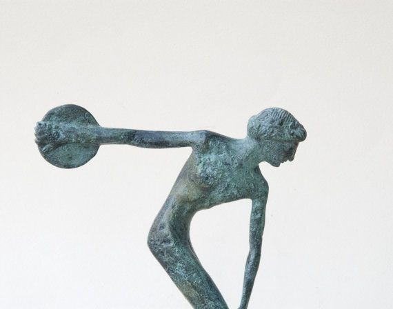 Discus Thrower Bronze Greek Athlete Statue Ancient by GreekMythos