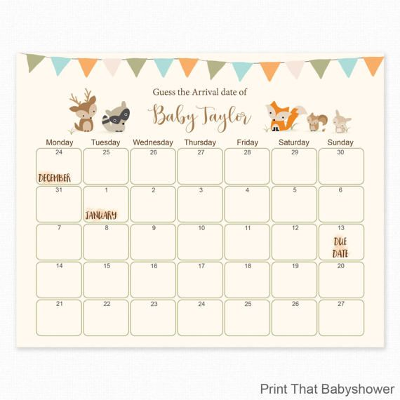 Baby Photo Calendar Ideas : Woodland baby shower guess the due date by