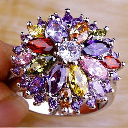 Peridot Garnet Citrines Amethyst White Topaz Flower Ring Plus Free Red – UCHARMME.co.nz