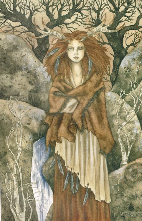 Elen of the Ways, the Green Lady. British Venus, Goddess of Gardens, she is the Flower Bride: at her Holy wells, she is guardian of the underground streams. Patron of roads and gates between the worlds. Art by Amy Brown