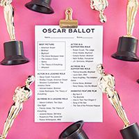2012 DIY Oscar Party for the 84th Annual Academy Awards with free printable Oscar ballots, Oscar favorites and a DIY glitter Oscar envelope