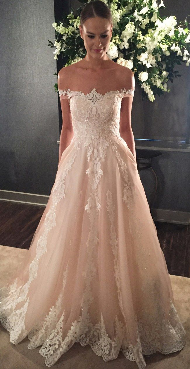 Off the shoulder sweetheart silk organza ballgown with sequin sprayed embroidered bodice and vertical embroidery lace on skirt @kellyfaetanini