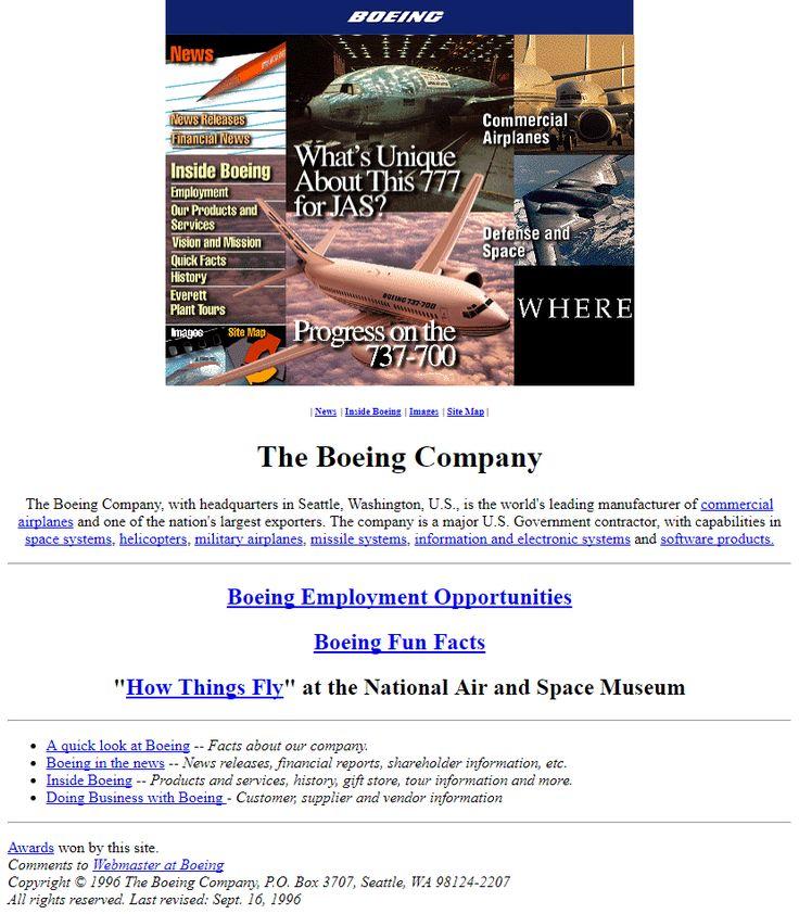 Boeing website in 1996