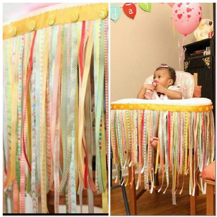 Highchair ribbon decoration for 1st birthday