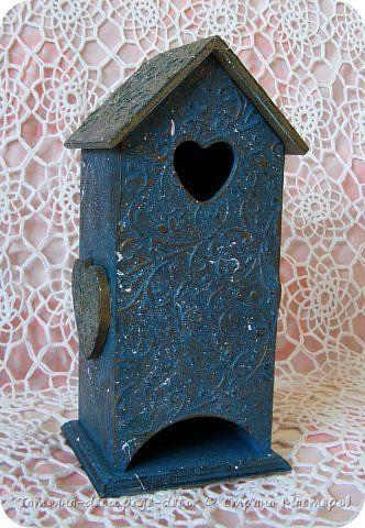 Декор предметов Декупаж Чайный домик Бирюзовый узор Дерево Краска фото 1