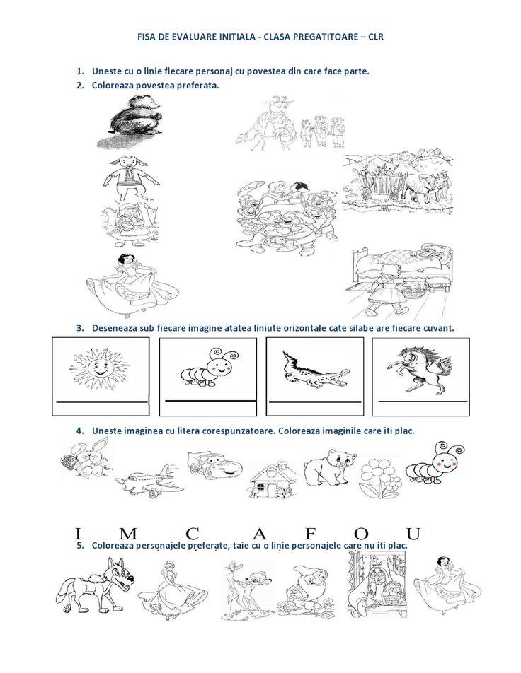 FISA de evaluare initiala Clasa PREGATITOARE - CLR - Comunicare in limba romana | Fise de lucru - gradinita