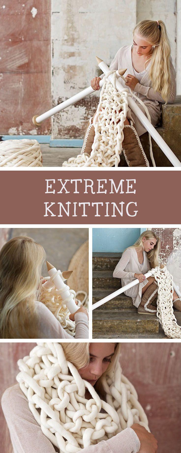 DIY-Anleitung: Stricke Dir einen Schal in Übergröße für den Winter, Extreme Knitting / DIY tutorial: knitting a huge scarf for winter, extreme knitting via DaWanda.com