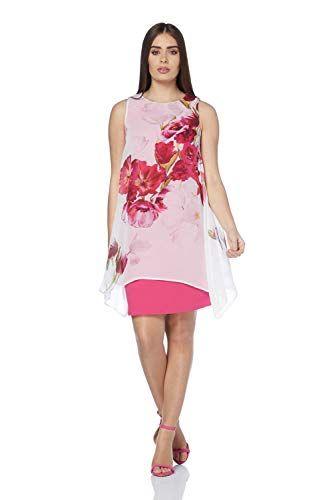 Roman Originals Robe à Effet superposé en Mousseline imprimé Floral Rose - Femmes  Tailles 38- 05bd2166898
