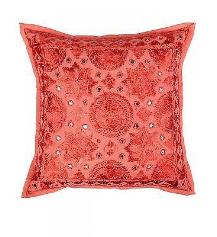 indian cotton handmade decotaive pakka mirror toss pillow cover