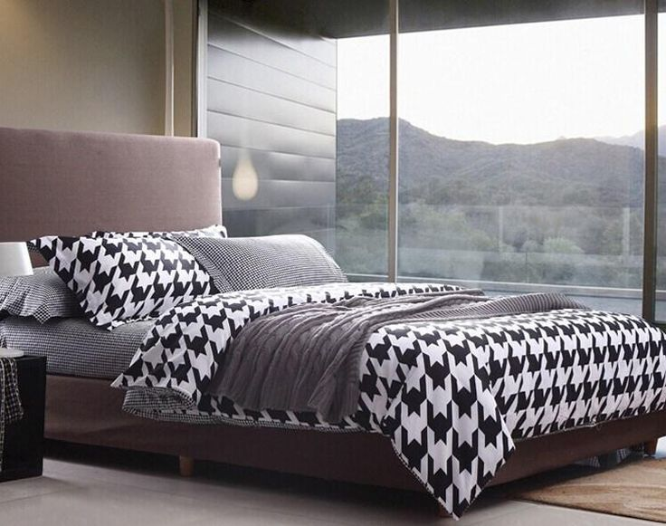 new minimalist comfort set high quality bed suite 100 cotton black white geometric bedding set twin full queen king size bed linen