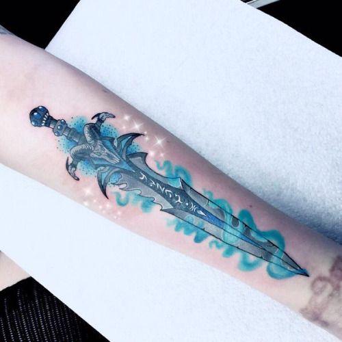 Leda s new tattoo it s arthas s sword from world of for Sword tattoos tumblr