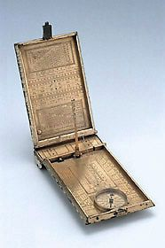 Astronomical Compendium signed by Erasmus Habermel who was a clockmaker and maker of astronomical and geodetic instruments of the 16th Century. The device includes an adjustable string gnomon sundial, a compass, as well as an assortment of calendrical, astrological and arithmetical tables.  It also has a miniatrurised set of gunner's gauge scales for determining the weight of cannonballs.
