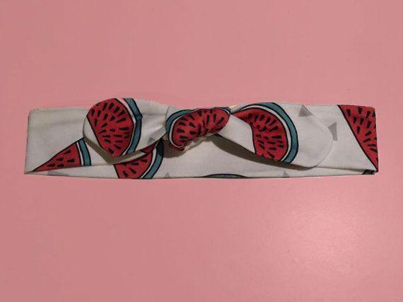 Organic cotton watermelon print bow knot topknot headband