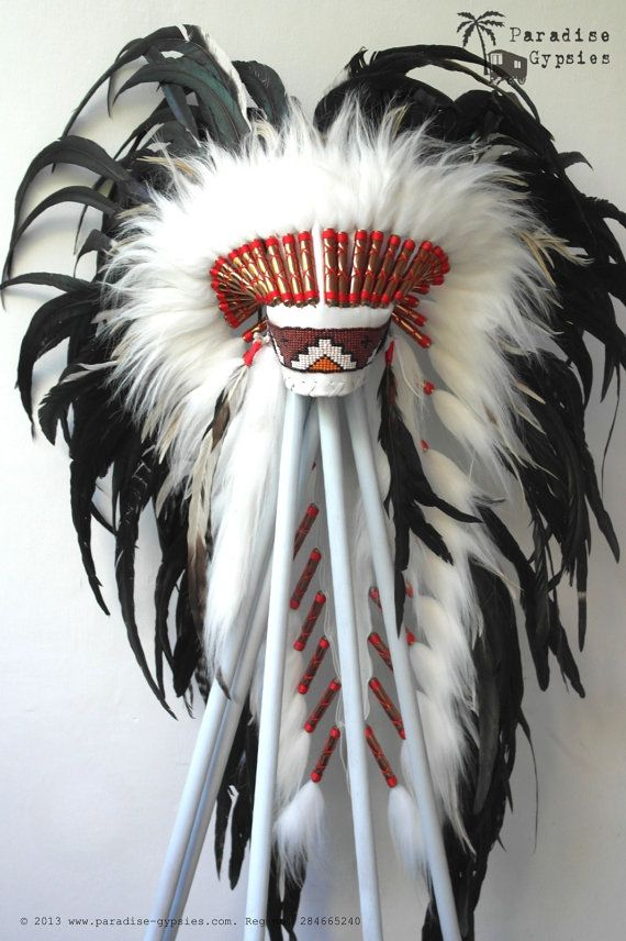LONG Feather Headdress On Soft White Leather Black Feather Headpiece Black Bead by Paradise Gypsies