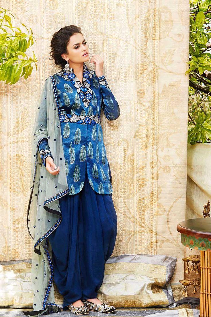 ANJALI JANI Persian Blue Dhoti Suit Set