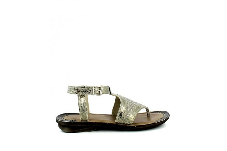 Trops Sand   Thong sandal in real leather vintage look with strass. Adjustable strap, rubber sole 2,5 cm high