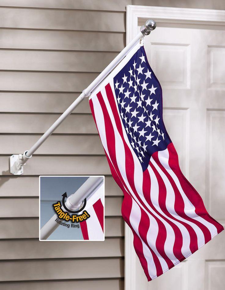 American Flag And Flag Pole Tangle Free 24l X 36w