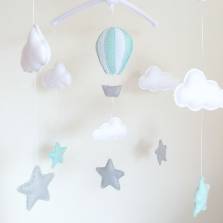 Clouds, Stars, Hot Air Balloon Musical Cot Mobile, Baby Mobile, Cloud Nursery Mobile, Star Nursery, Nursery Decor, Baby Mobile, Cloud Mobile by xCrazyLittleCraftsx on Etsy https://www.etsy.com/listing/465313026/clouds-stars-hot-air-balloon-musical-cot