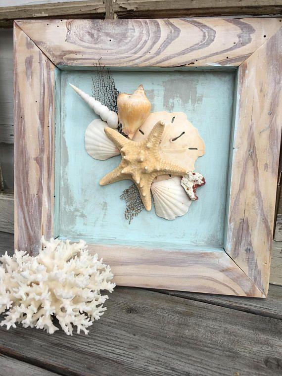 Framed Seashell Wall Art Beach House Seashell Art Coastal