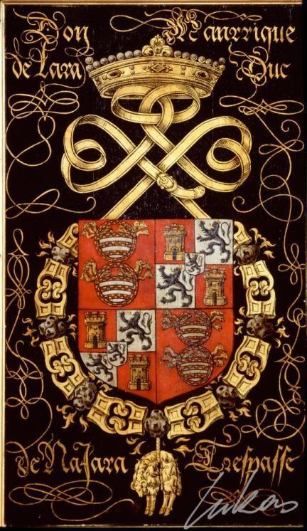 "(199) Juan Esteban Manrique de LARA, 3e duc de Najera (1504-1558) -- ""Don Manrique de Lara, duc de Najara. Trespasse"" -- Armorial plate from the Order of the Golden Fleece, 1559, Saint Bavo Cathedral, Gent -- Panneau de trépassé."