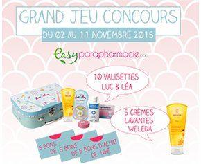 Participer au jeu concours Easyparapharmacie et tenter de gagner un des 10 valisettes Luc et Léa, 5 crèmes Weleda et 5 bons d'achats de 10€