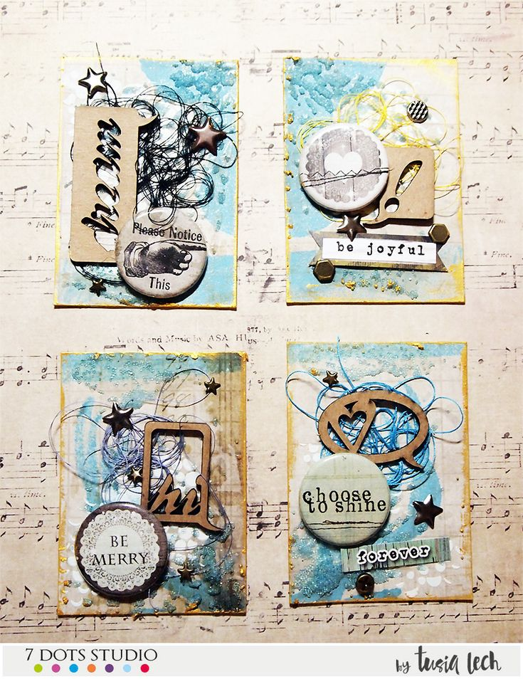An ATC series with 7 Dots Studio, Finnabair and UmWowStudio products by Tusia Lech.