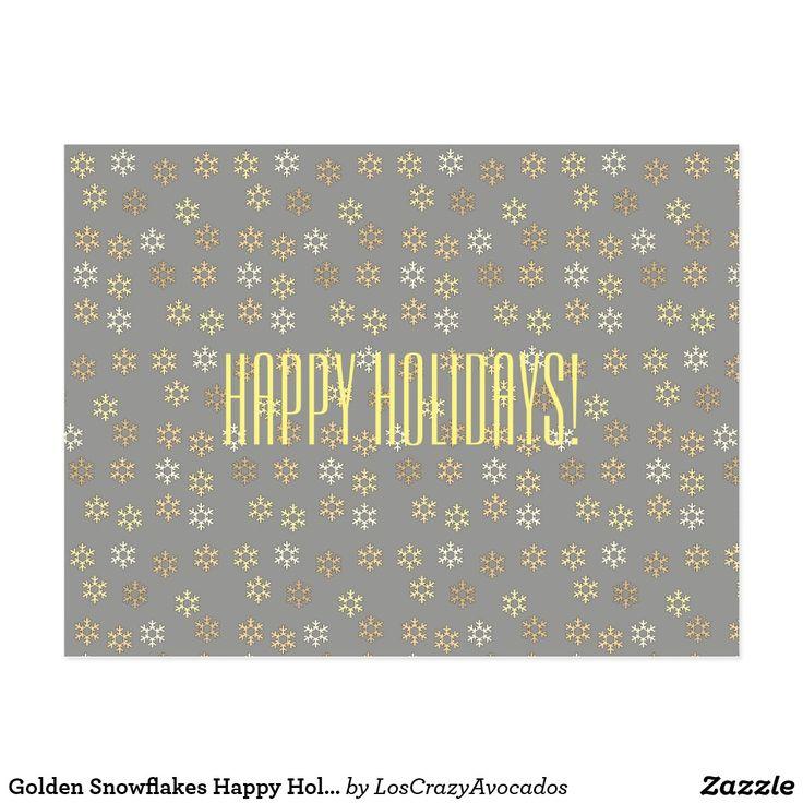 Golden Snowflakes Happy Holidays Postcard
