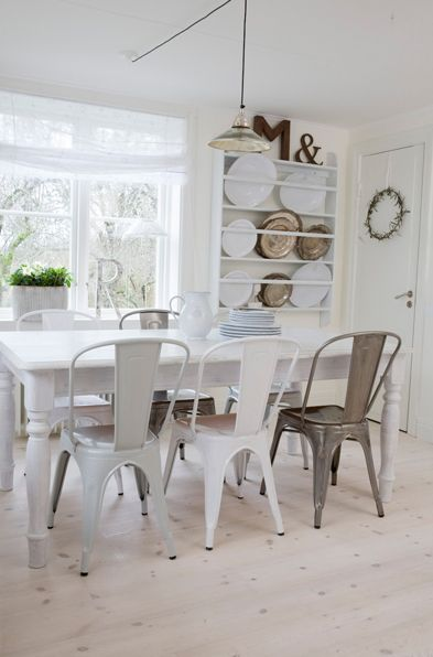 FURNITURE LIST: Dining chairs in white or other metallics | Tolix Chairs in different finishes.