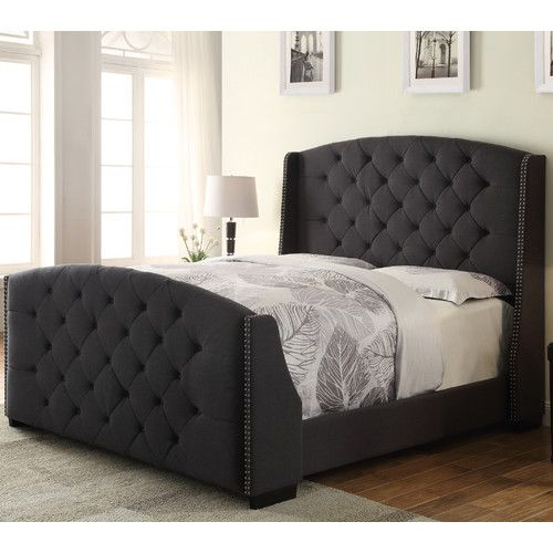 Found it at Wayfair.ca - Linosa Upholstered Panel Bed $900 CAD love thise, charcoal IRL
